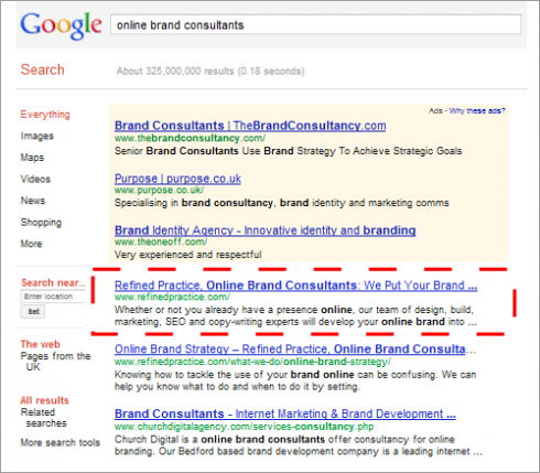 Refined Practice: Number 1 on Google UK for Online Brand Consultants