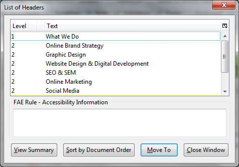 Screenshot: HTML Headings on the Refined Practice What We Do page match the displayed text