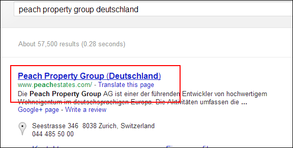"Screen grab of search result for ""peach property group deutschland"""