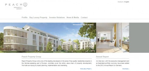 Peach Property Group's corporate website